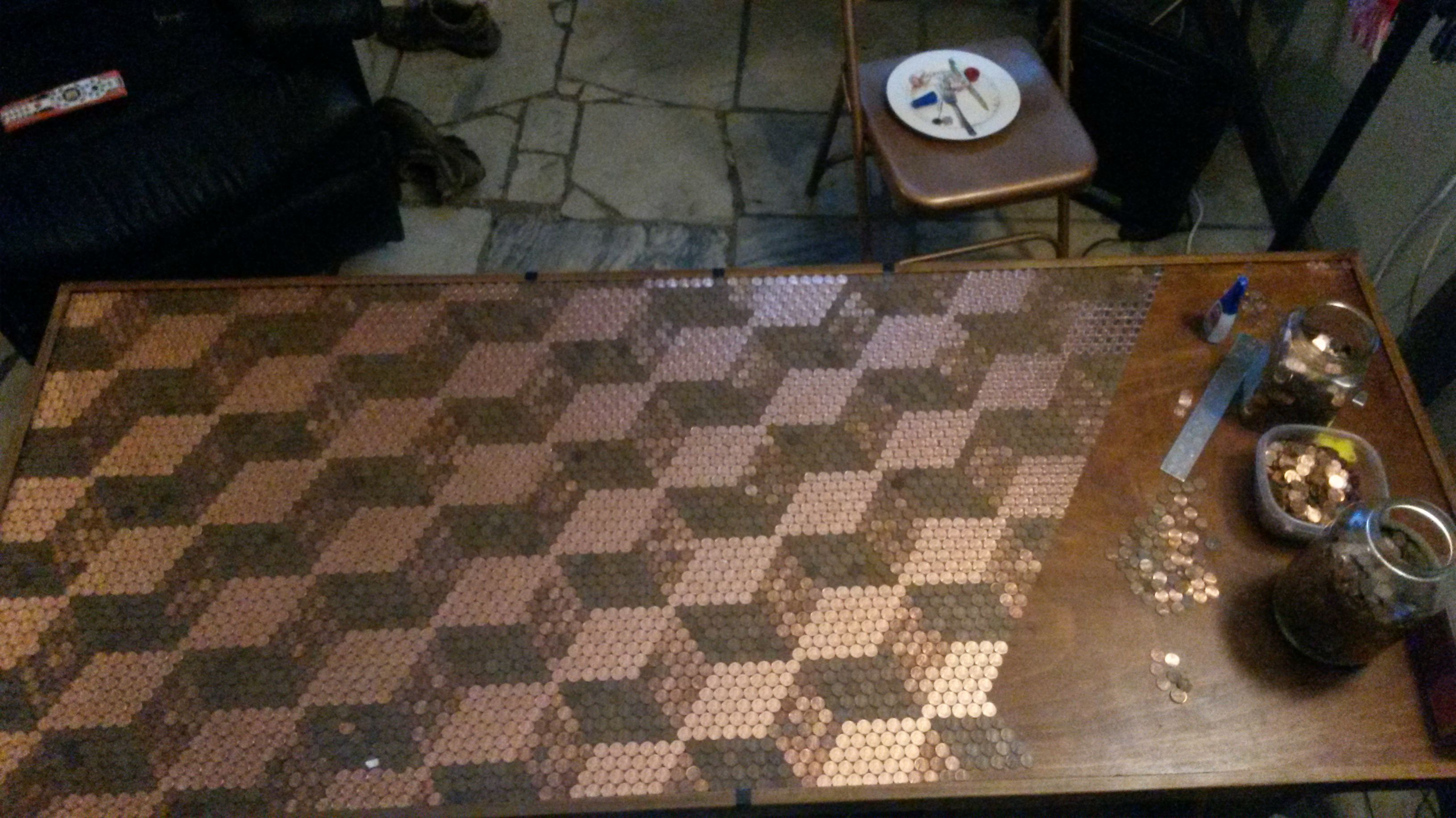 Guy gathered coins for one year what he made next cannot for Copper penny bar top