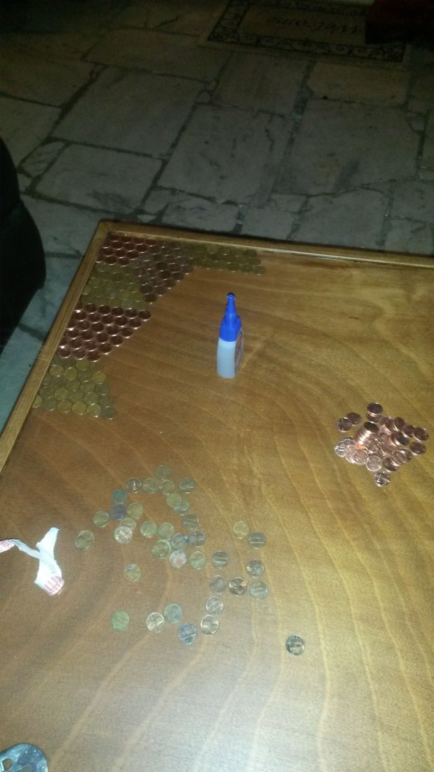 DIY Pennies Table – Amazing use of Pennies 6