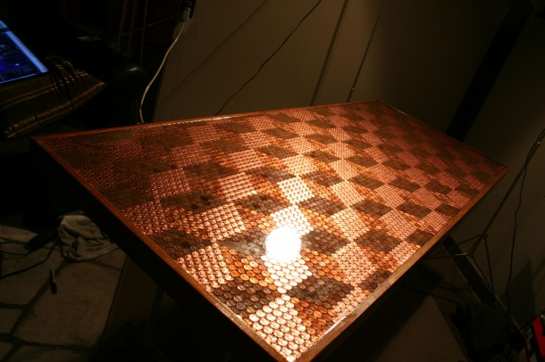 DIY Pennies Table – Amazing use of Pennies