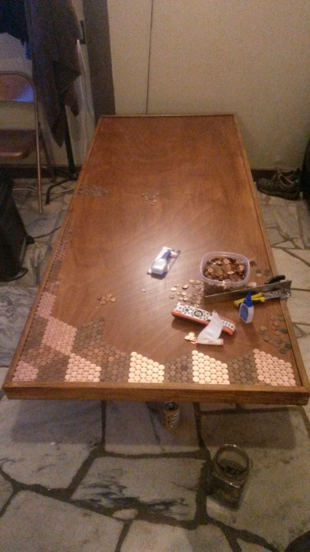 DIY Pennies Table – Amazing use of Pennies 7