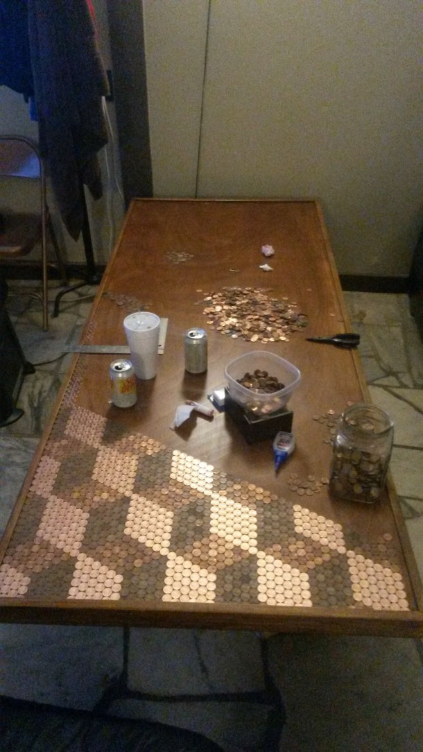 DIY Pennies Table – Amazing use of Pennies 8