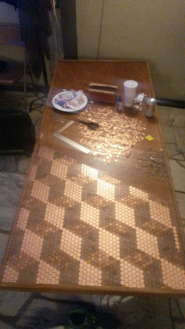 DIY Pennies Table – Amazing use of Pennies 9