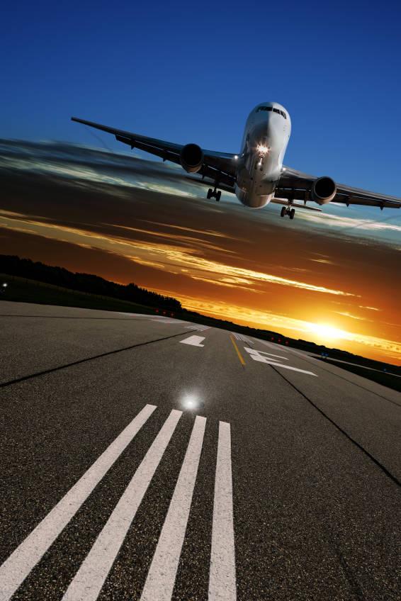 jet airplane landing on runway
