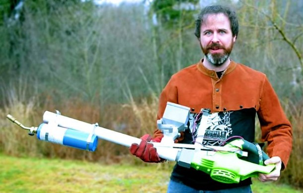 Homemade Flamethrower that Uses Cornstarch as Fuel 3