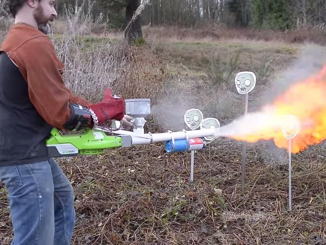 Homemade Flamethrower that Uses Cornstarch as Fuel 5