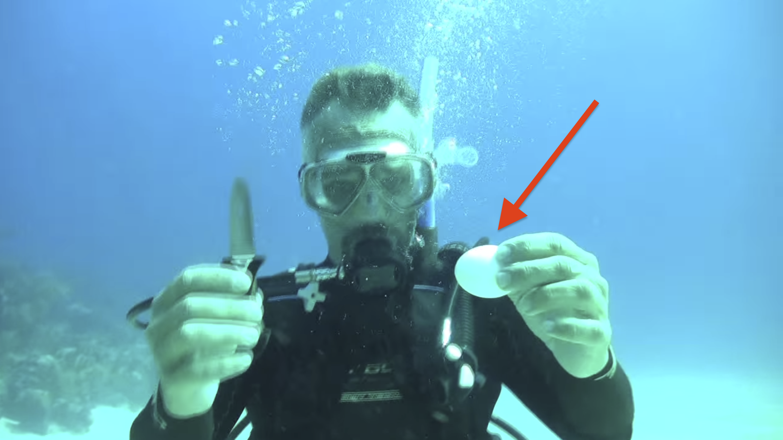 Cracking egg underwater