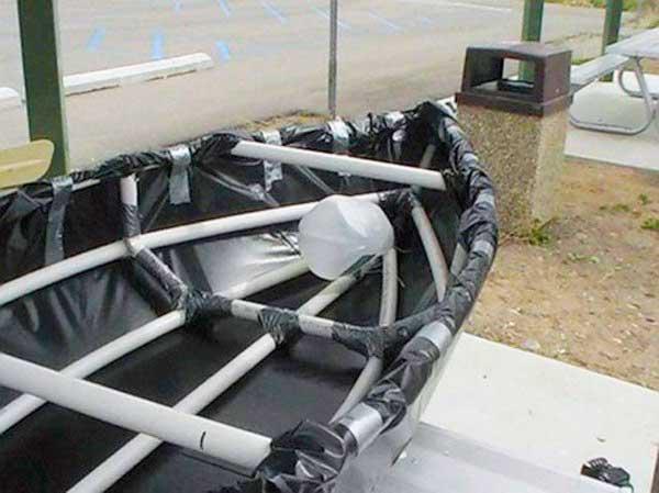 Как сделать лодку из пвх труб и стрейч пленки
