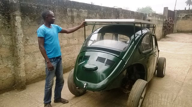 Nigerian Student Builds Solar-Wind Hybrid Car from his old Beetle
