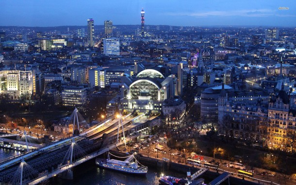 London Eye view toward Charing Cross, London, U.K.