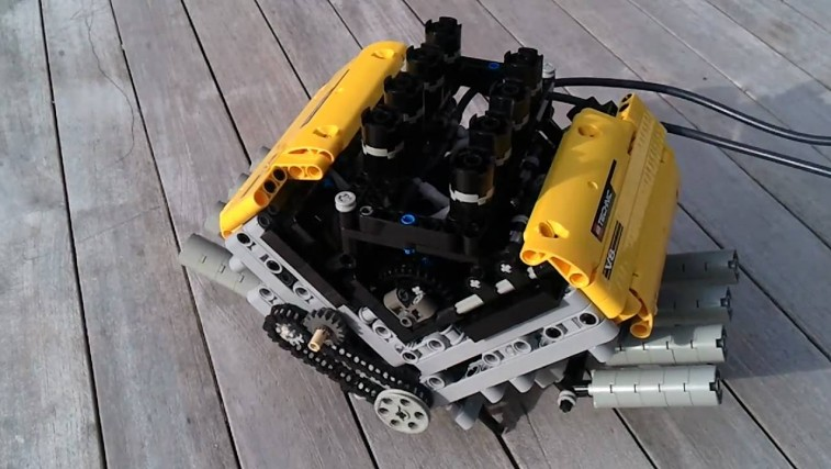 This Mini V8 Engine Has Been Build Using Lego And Works Using Compressed Air