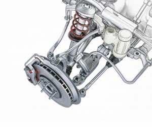 Multi link front car suspension, with brake
