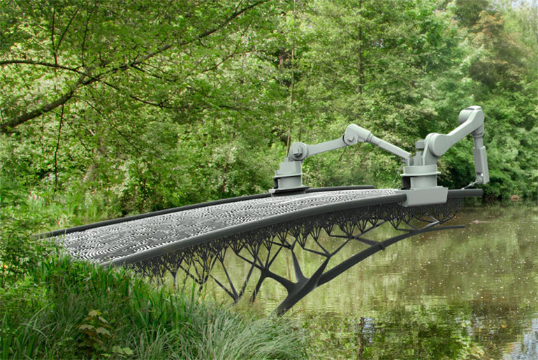 3D Printer To Print A Bridge Over A Canal In Amsterdam