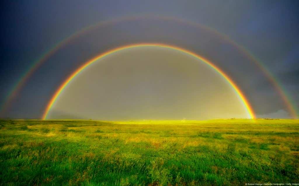 Double rainbow in a meadow, Silt, Colorado, U