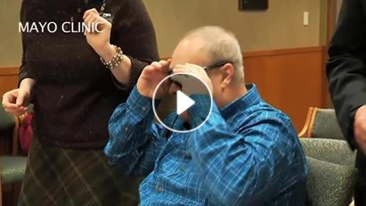 Blind man sees his wife for first time