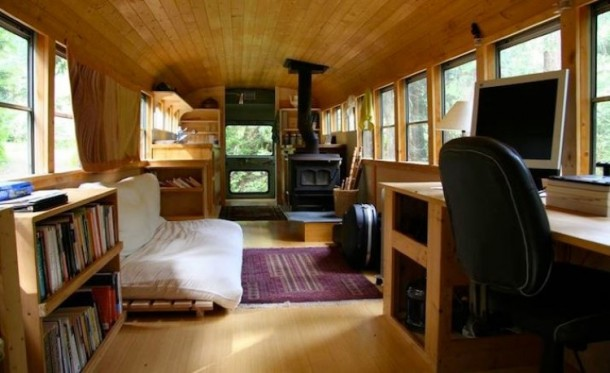 Old US School Bus Transformed Into A Movable House 2