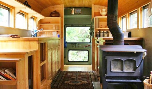 Old US School Bus Transformed Into A Movable House 7