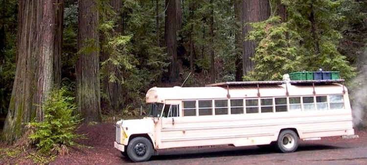 Old US School Bus Transformed Into A Movable House