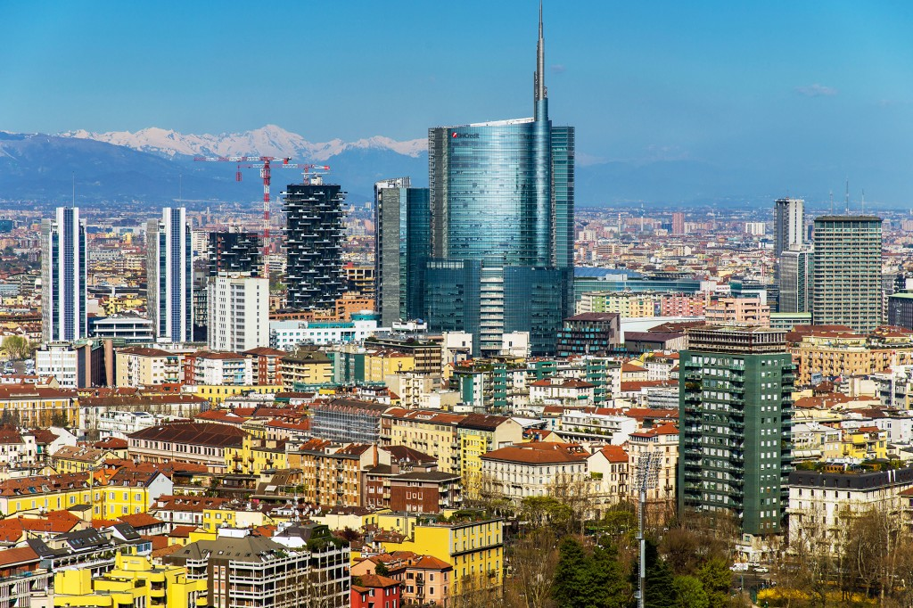 City skyline with Porta Nuova business district and the Alps behind, Milan, Lombardy, Italy