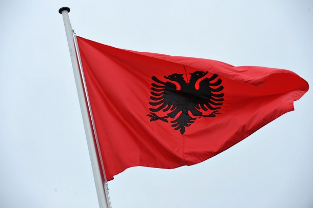 The Albanian flag flying at NATO Headquarters