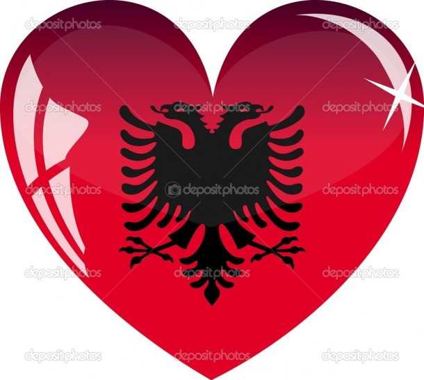 Vector heart with Albania flag texture isolated on a white background.