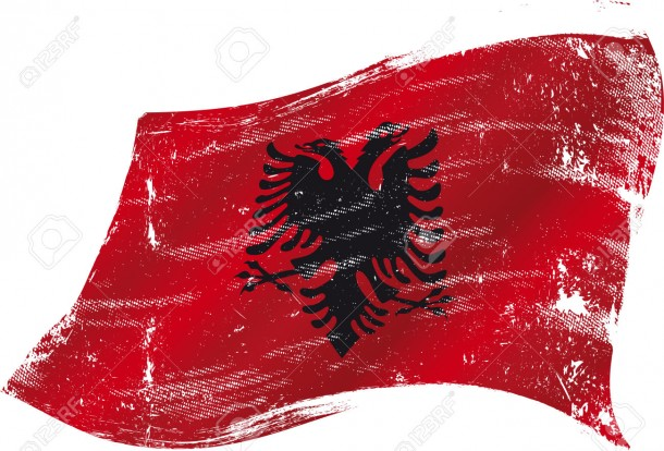 flag of Albania in the wind with a texture