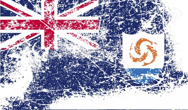 Flag of Anguilla with old texture. Vector illustration