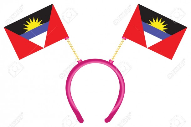 Cheerful headdress for the holiday with flag Antigua and Barbuda. Vector illustration.