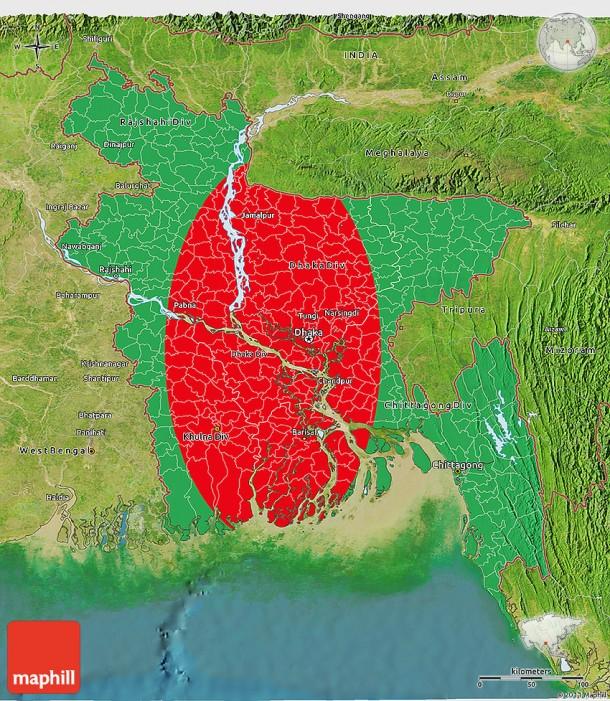 Flag 3d map of Bangladesh, satellite outside.