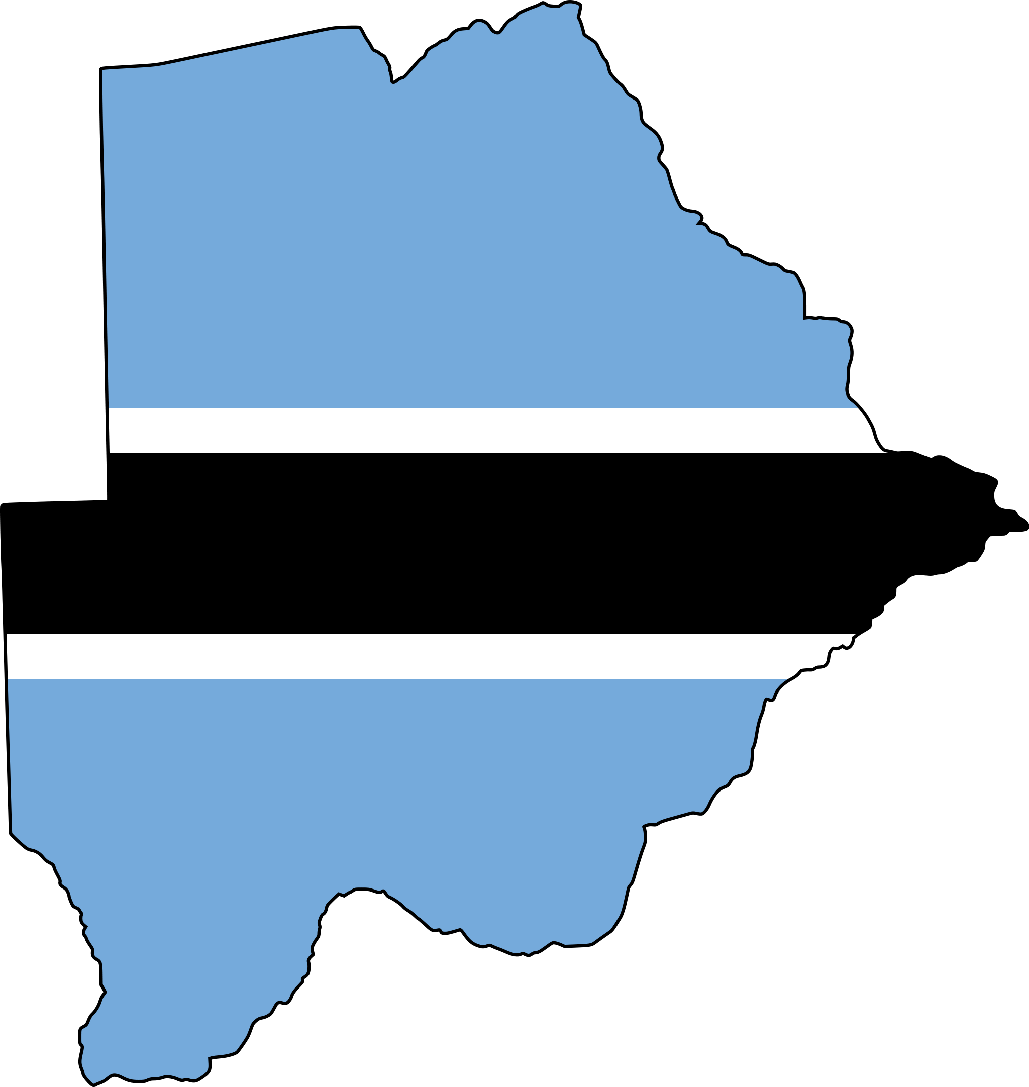 Flag Of Botswana The Symbol Of Water Source And Farming - Botswana map hd