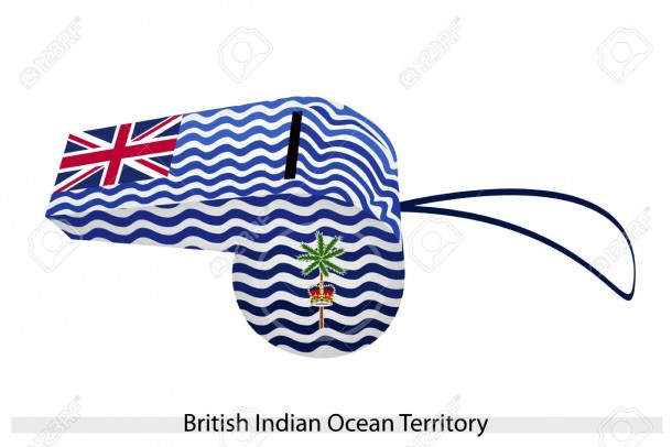 White and Blue Wave with Union Flag, Palm Tree and Crown of The British Indian Ocean Territory, BIOT or Chagos Islands Flag on A Whistle.