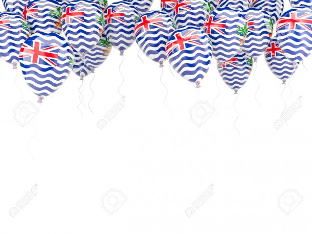 Balloon frame with flag of british indian ocean territory isolated on white