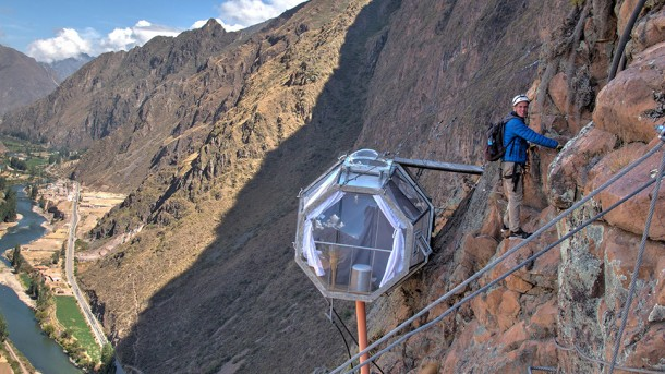 Glass Pod Strapped On A Mountain Provides Amazing View 5