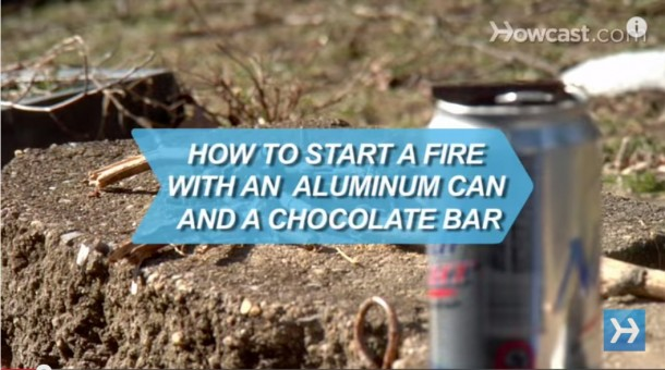 How to Start a Fire with an Aluminum Can a Chocolate Bar