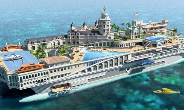 An innovative design company has come up with a yacht inspired by the principality of Monaco that comes complete with casino and RACE TRACK. See SWNS story SWYACHT; The staggering 'Streets of Monaco' is a 155-metre long hyper-yacht featuring swimming pools, tennis courts and a number of landmarks usually only found within the exclusive 0.78 square mile playboy's playground. This includes the casino, Hotel de Paris, Cafe de Paris, La Rascasse, and the famous Loews hotel. But one of the most incredible features is the Monaco Grand Prix-inspired go-kart track complete with tunnel complex.