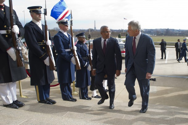 130328-D-TT977-063Secretary of Defense Chuck Hagel, right, escorts Cape Verde Prime Minister Jose Maria Neves through an honor cordon and into the Pentagon on March 28, 2013.  Hagel also welcomed Sierra Leone President Bai Koroma and President of Malawi Joyce Banda for joint meetings.  DoD photo by Petty Officer 1st Class Chad J. McNeeley, U.S. Navy.  (Released)