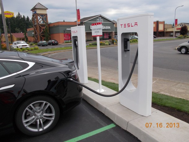 This Tesla supercharging station in Centralia is one of four in Washington and Oregon being built by Vancouver-based ADK Electric. (Submitted photo)