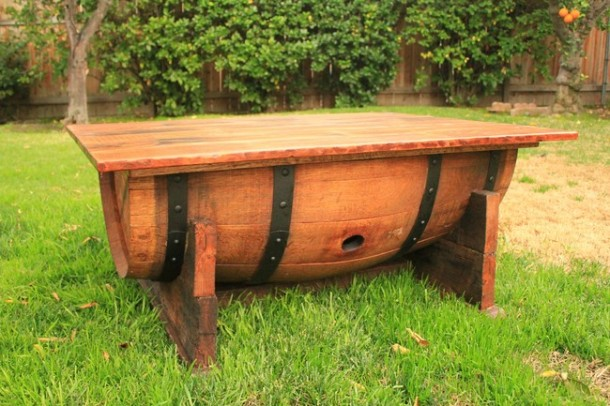 Wine barrel-table