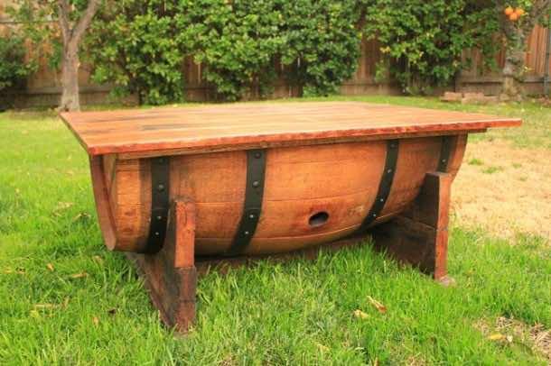 Wine barrel-table