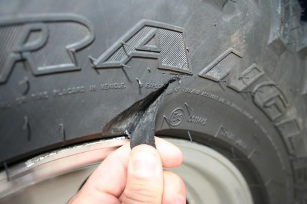 Cut tire