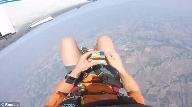 rubik cube while sky diving