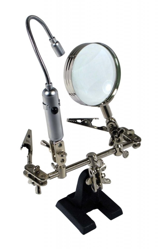 SE MZ1013FL Helping Hand Magnifier with Flexible Neck LED Flashlight