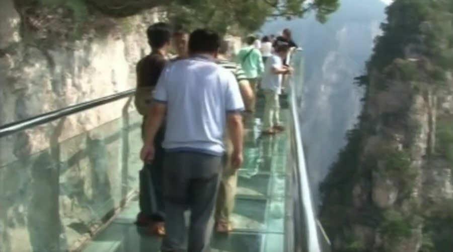 Chinese skywalk bridge cracks down