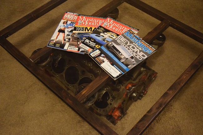DIY coffee table from engine block