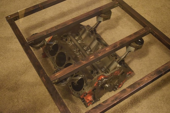DIY coffee table from engine block2