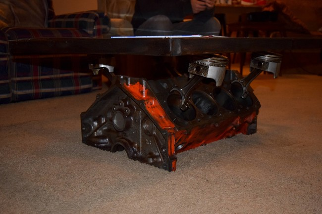 DIY coffee table from engine block3