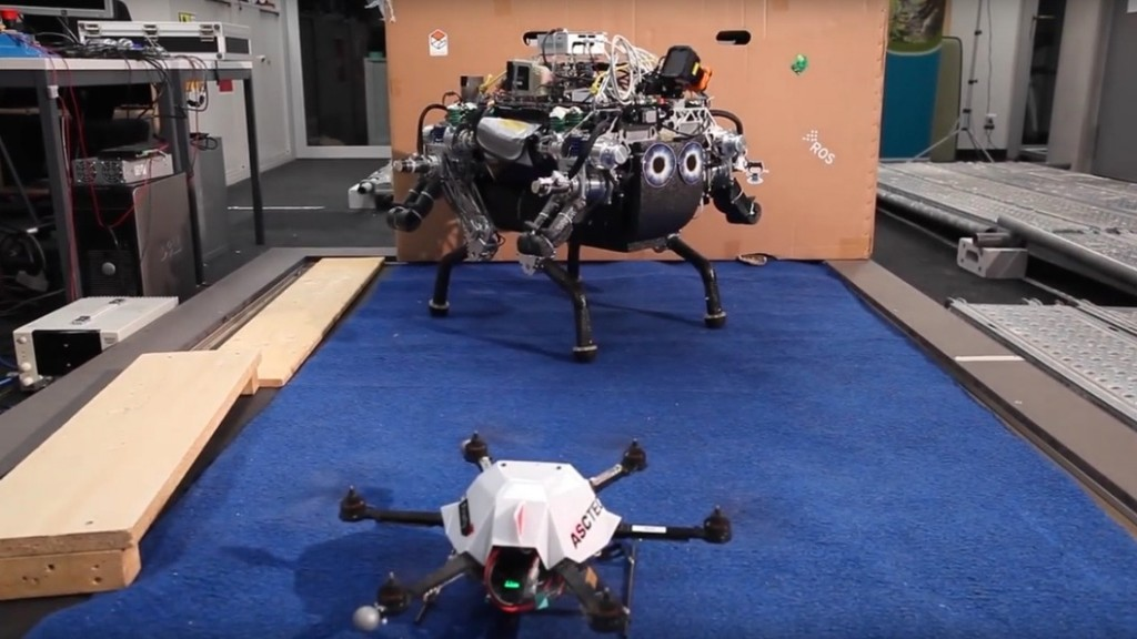 drone plots map and ground robot follows path
