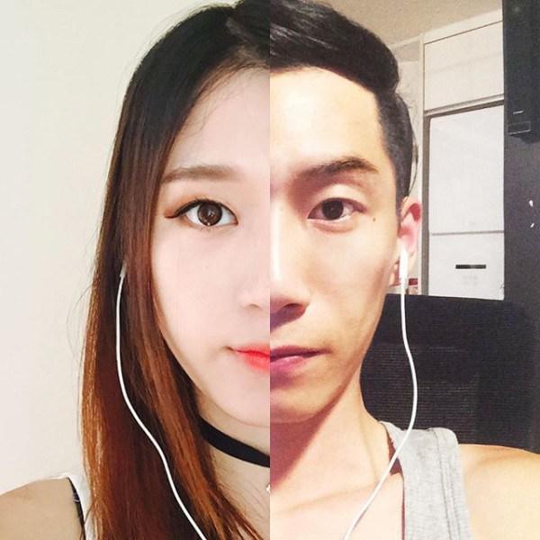 collage photos Korean couple