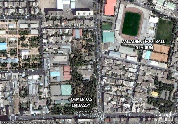 Aerial image shows the location of stadium and the embassy