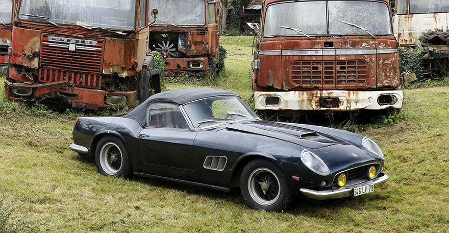 vintage cars found at french farmhouse