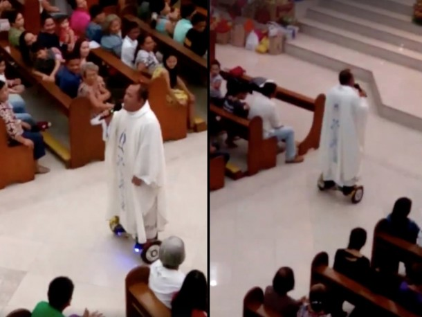 A Priest Rode A Hoverboard During A Mass And Has Been Suspended